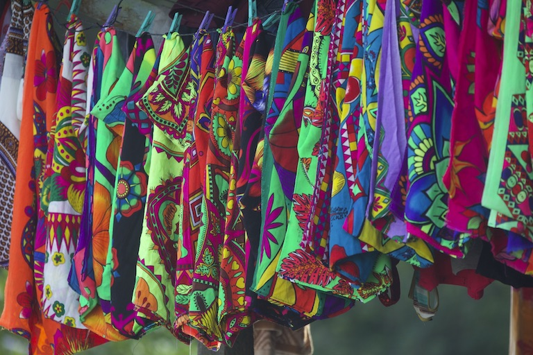 A clothesline of wraparound skirts called parumas in Puerto Lara. Image by Alexander Arosemena for Mongabay.