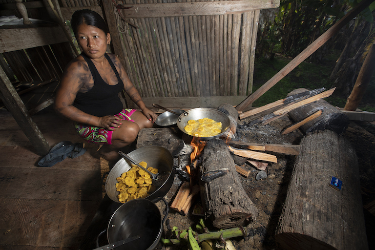 A Wounaan woman prepares patacones, fried plantains, in a traditional fire kitchen in Puerto Lara. Image by Alexander Arosemena for Mongabay.