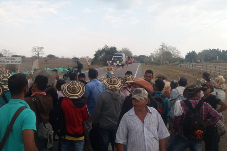 The caravan in Sampues, Colombia this week. Image via @ONIC_Colombia on Twitter.