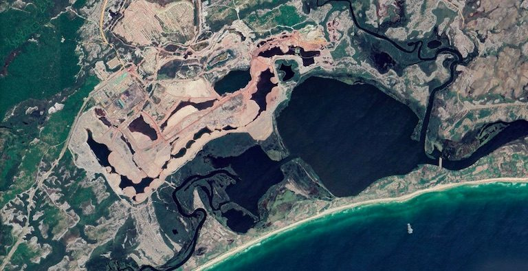 Rio Tinto's QIT Madagascar Minerals mine in southeastern Madagascar. Image courtesy of Google Earth.