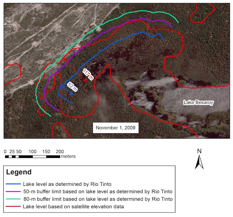 Rio Tinto's QIT Madagascar Minerals site in 2009 and 2016. Madagascar law requires an 80-meter (262-foot) buffer zone between mining activity and any sensitive area, including marshy areas, wetlands, lakes and lagoons. In 2014, Rio Tinto received a permit to reduce this to 50 meters in certain areas. However, two recent studies show that Rio Tinto's mining activities encroached not only all the way through the buffer zone but onto the lake bed itself. In one, Utah-based geophysicist Steven Emerman, using data from NASA, found that Rio Tinto's activities had encroached 117 meters (384 feet) into the lake. In the other, Ozius Spatial, an Australian consultancy, found that the company had encroached 52 meters (171 feet) into the lake. To do so, the consultancy used aerial lidar data provided by Rio Tinto, which the mining company has declined to release publicly or share with Emerman or the Andrew Lees Trust, which commissioned Emerman's work. The key disagreement between the two studies is about where the lake bed begins, not about the extent of mining activities. Images courtesy of Steven Emerman.