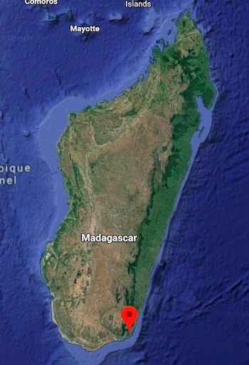 Map shows the location of Rio Tinto's QIT Madagascar Minerals mine. image courtesy of Google Earth.