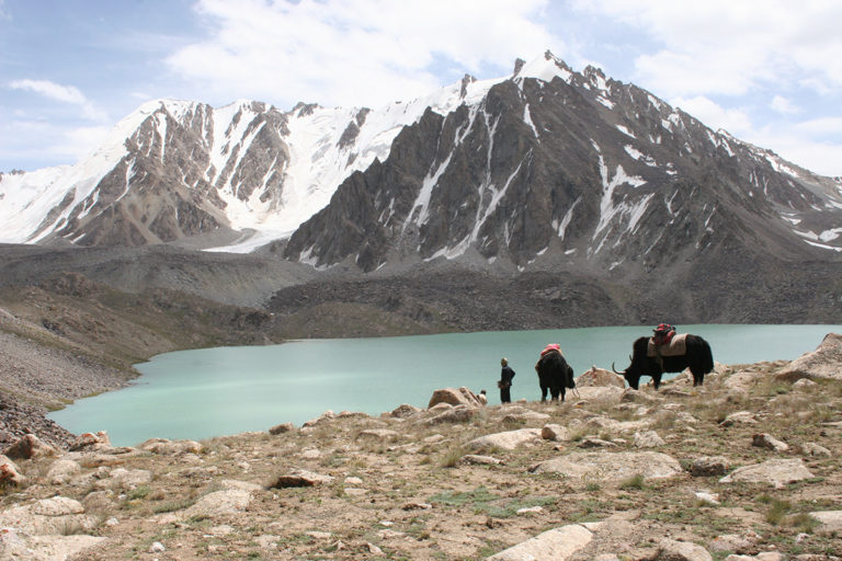 WCS Rangelands Team next to an Alpine Lake in Big Pamir. Credit WCS/Don Bedunah