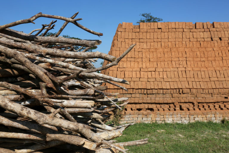 A brick kiln in the Irrawaddy region with a mixture of mangrove and other wood. Workers say they prefer the finish on the charcoal made from mangrove. Photo by Victoria Milko.