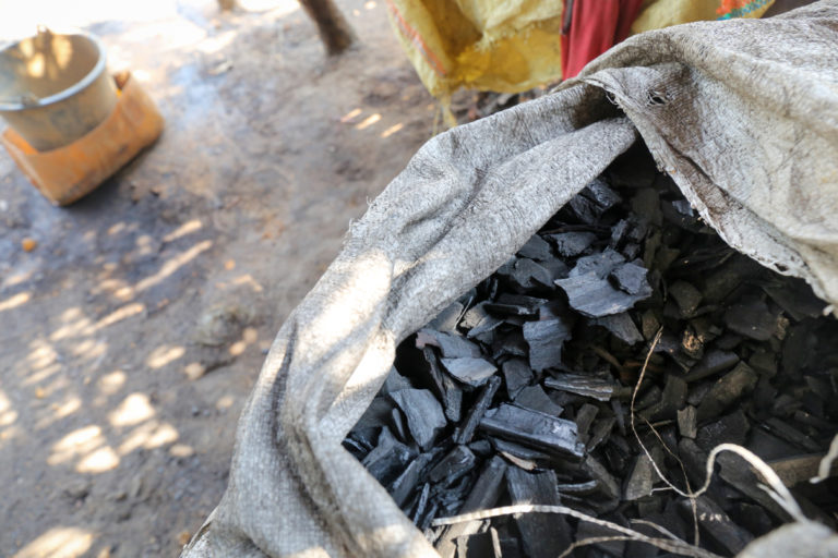 A bag of charcoal made in a kiln near Kyunsu Township in Myanmar. Photo by Victoria Milko.