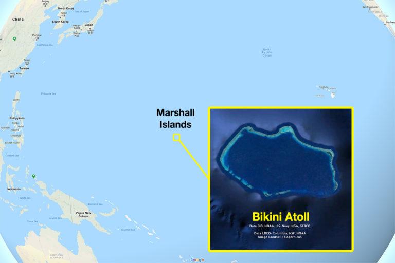 Google Earth image showing Bikini atoll