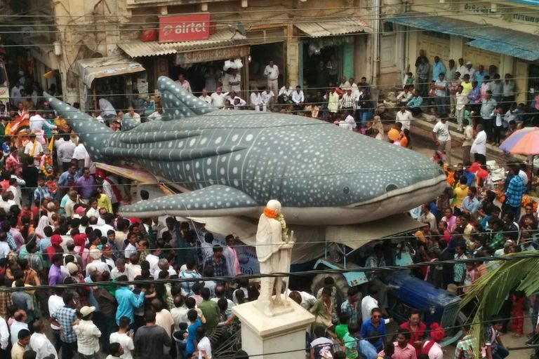 A model whale shark during a conservation campaign parade put on by the Gujarat Forest Department. Image courtesy of Wildlife Trust of India.