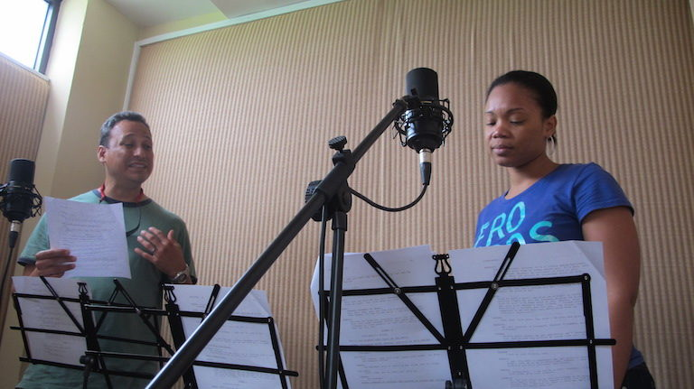 Punta Fuego voice actors record a scene for the radio drama. Photo by J. Sanchez for WCS.