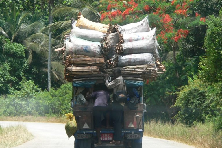 Truck piled high with sacks and bundles of wood, transporting goods through Jozani Forest. Photo: Kent MacElwee/Flickr CC by 2.0
