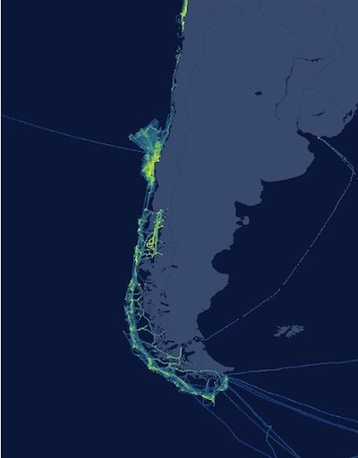 Map shows the presence of fishing vessels along Chile's coastline using only publicly broadcast Automatic Identification System (AIS) data from large vessels, from Feb. 1, to May 7, 2019. Image © Global Fishing Watch.