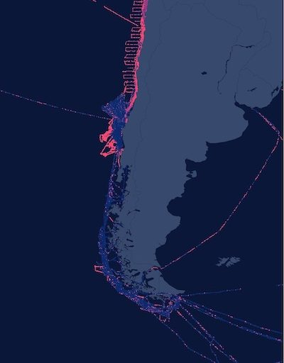 Map combining AIS data with Vessel Monitoring System (VMS) data from the Chilean government reveals more fishing activity along Chile's coastline from Feb. 1, to May 7, 2019. Image © Global Fishing Watch.