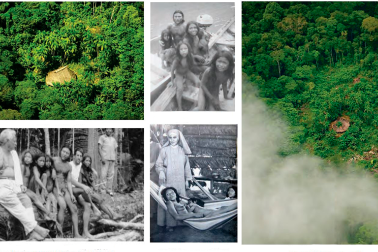 Recent photographs of maloca houses from isolated Yurí and Passé indigenous villages and photographs of the community in 1969, the only time it made contact with the outside world. Images, clockwise from top-left, by Cristóbal von Rothkirch, courtesy of Anastasia Candre, by Cristóbal von Rothkirch, by Ives-Guy Bergès, and by Joaquín Molano Campuzano from the book Cariba Malo (Universidad Nacional de Colombia, 2012).