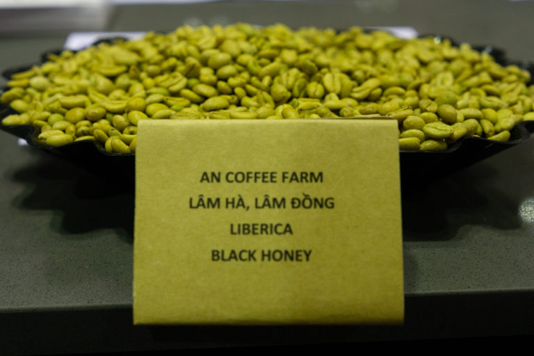 Specialty coffee beans grown in the Central Highlands on display at the recent Cafe Show Vietnam in Ho Chi Minh City. Photo by Michael Tatarski for Mongabay.