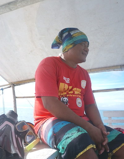 Omar Nepomuceno, a butanding (whale shark) interaction officer employed by the Donsol government. Image by Nina Unlay.