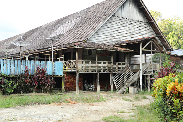 Built in 1978, the 214-meter Sungai Utik longhouse houses 318 people. Bandi at Sungai Utik. Photo by Rhett A. Butler