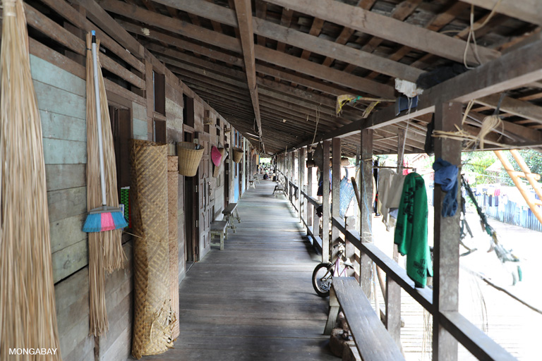 The communal veranda that stretches the full 214-meter length of Sungai Utik longhouse. Photo by Rhett A. Butler