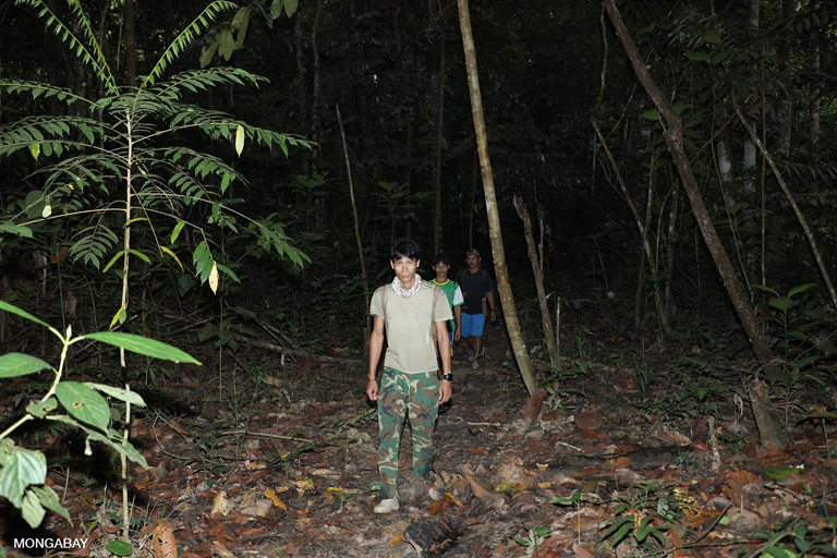 Iban on patrol in Sungai Utik's customary forest. Photo by Rhett A. Butler