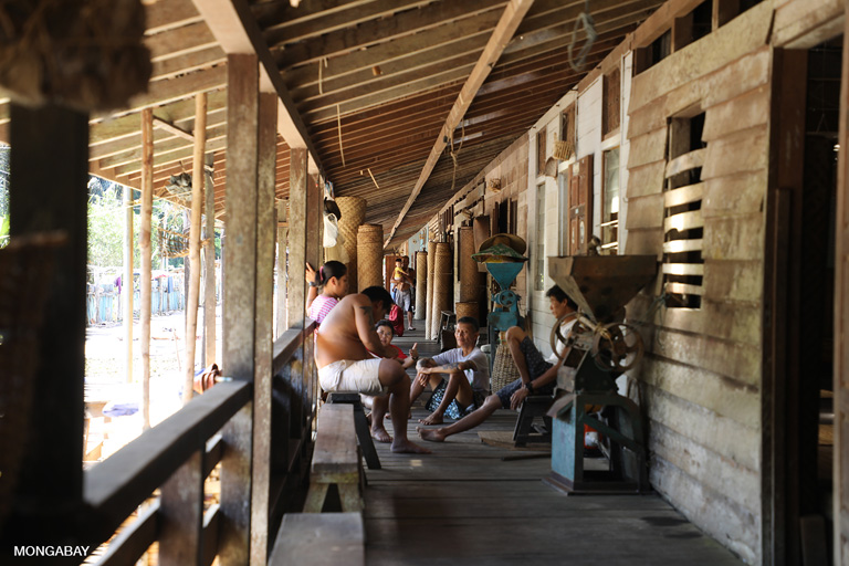 Community activity at Sungai Utik longhouse. Photo by Rhett A. Butler