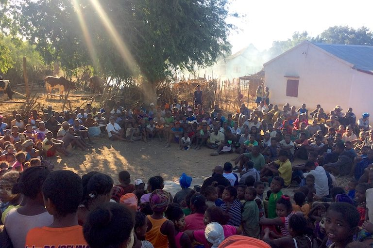 A meeting of the Benetse chapter of Mazoto, a group opposed to Base Resources's mining project. Image by Edward Carver for Mongabay.