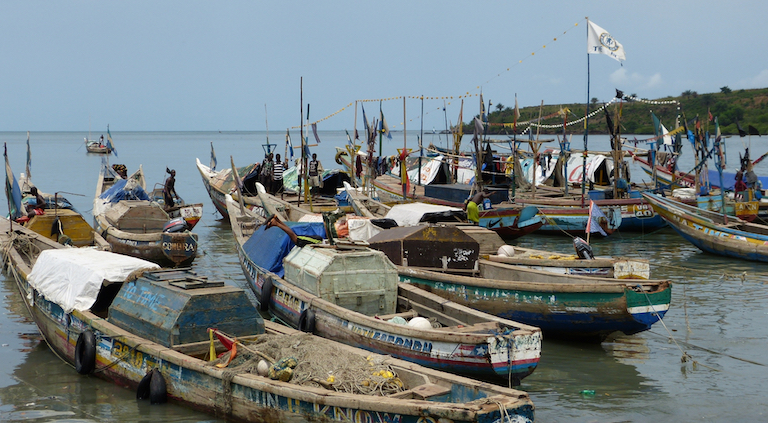 Fishing boats set to go to sea in Tombo. Image by Uzman Unis Bah for Mongabay.