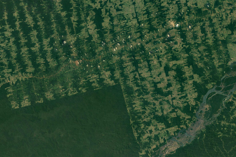 Google Earth image showing deforestation around Arara in the state of Para, in the Brazilian Amazon.