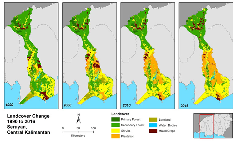 Figure 2: Land cover change in Seruyan District from 1990 to 2016 based on data from the Indonesian Ministry of Environment and Forestry.