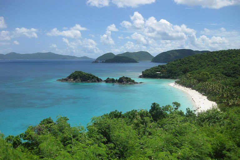 The beach at Trunk Bay in Virgin Islands National Park, where researchers have detected concentrations of sunscreen contamination. Image by Kaitlin Kovacs, USGS via Wikimedia Commons.