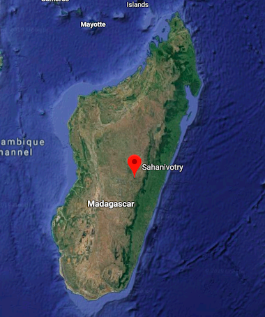 Map shows the location of Sahanivotry village in central Madagascar. Image courtesy of Google Maps.