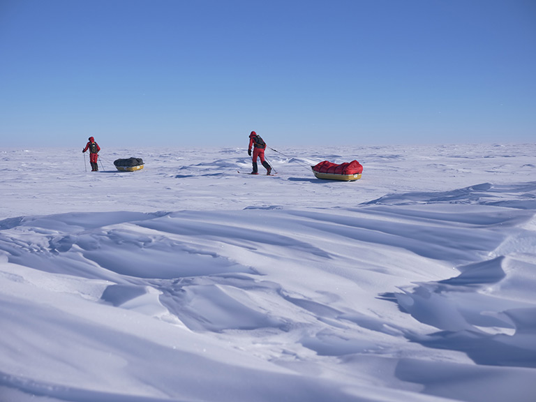 Trekking during the 2017-18 South Pole Energy Challenge. Courtesy of the 2041 Foundation.