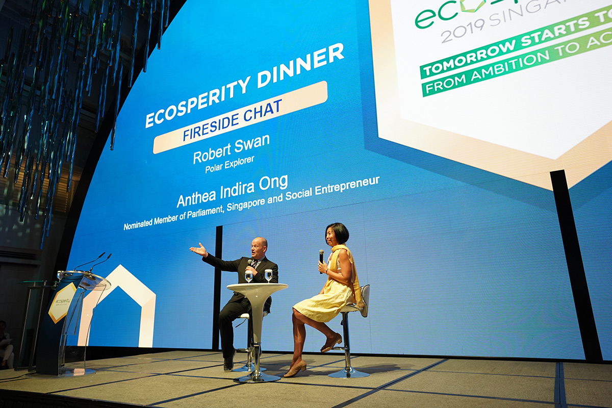 Robert at a fireside chat with Anthea Ong during the Ecosperity Dinner. Anthea went on last year's Antarctica expedition with Robert. Courtesy of Temasek.