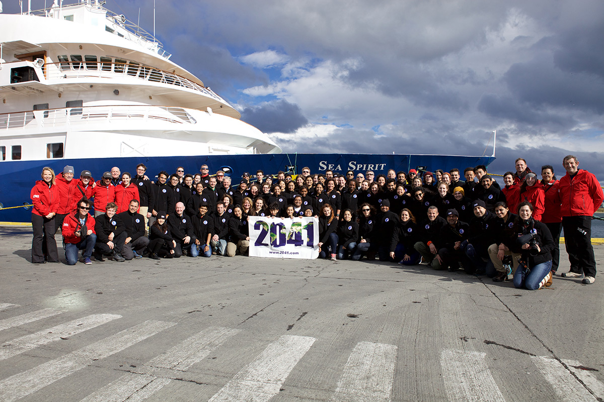 The group photo is from the International Antarctic Expedition (2015) dockside in Ushuaia before heading south for the Antarctic peninsula. Courtesy of the 2041 Foundation.