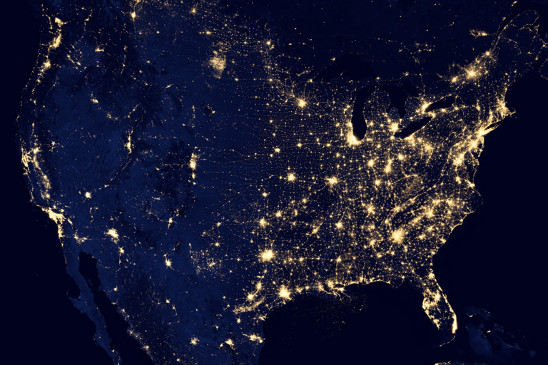 City lights in the United States. Image courtesy of NASA's Earth Observatory.