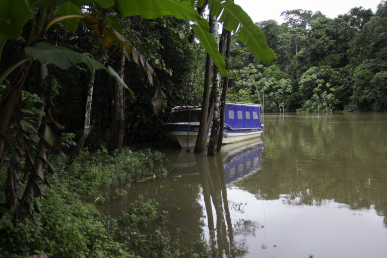 The passenger boat that sits empty and unused outside of Andres Machoa's home in Llanchama, a symbol of unfulfilled promises by the oil industry. Photo by Kimberley Brown for Mongabay.