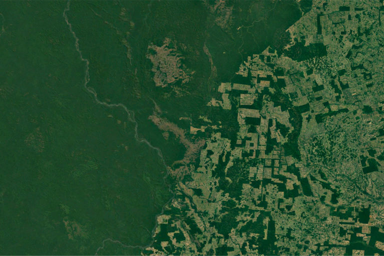 Google Earth image showing deforestation frontier in the Brazilian Amazon.