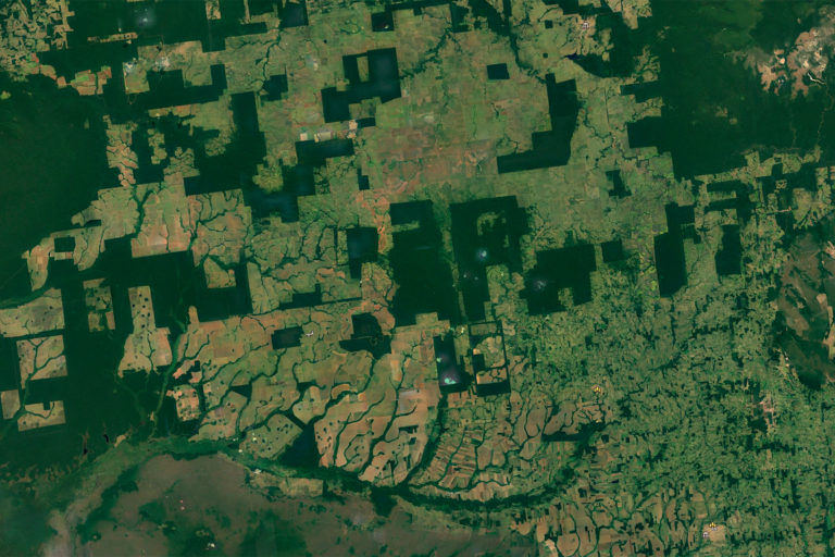 Google Earth images showing forest fragments in a deforested landscape in Rio Omerê, Rondônia, Brazil.