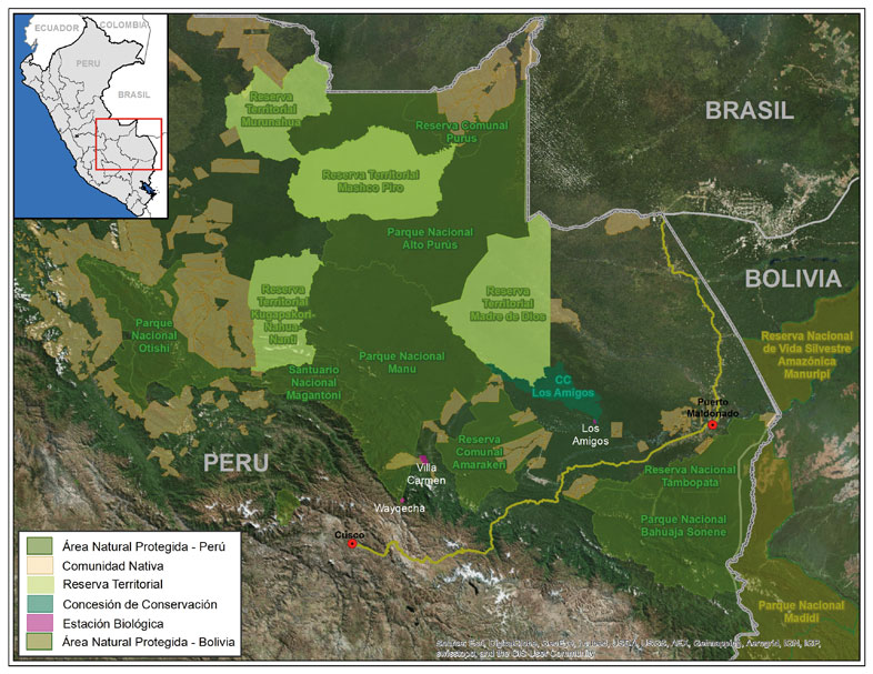 A map showing Manu National Park and surrounding conservation buffer areas. Image courtesy of ACCA.