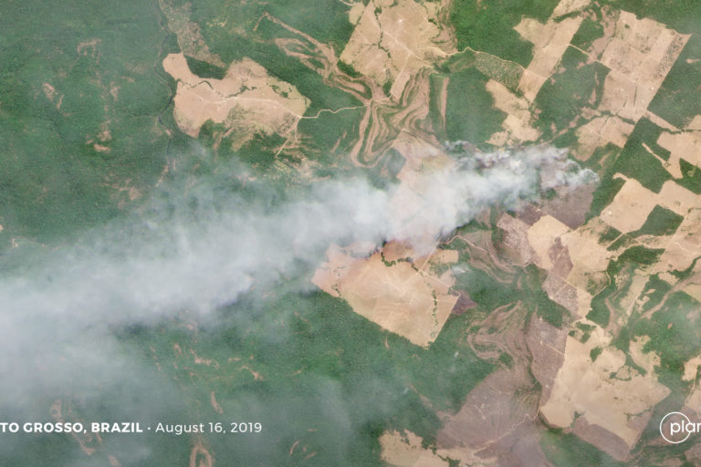 Fire burning in an area of recent forest clearing in Mato Grosso, Brazil. Courtesy of Planet Labs Inc.