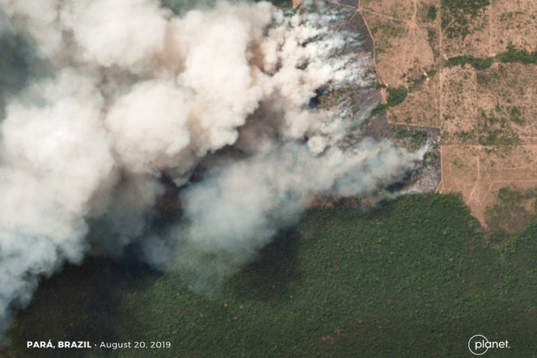 Fires burning in the state of Pará, Brazil on August 16, 2019. Courtesy of Planet Labs Inc.
