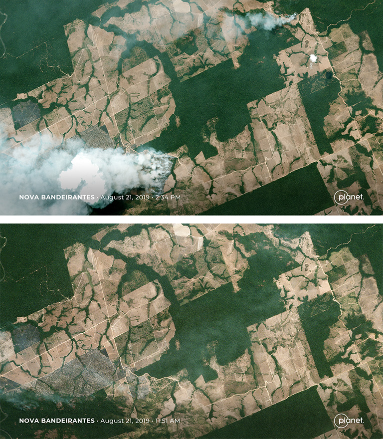 Planet image showing Nova Bandeirantes, Mato_Grosso before and after a fire on August 21, 2019. Courtesy of Planet Labs Inc.