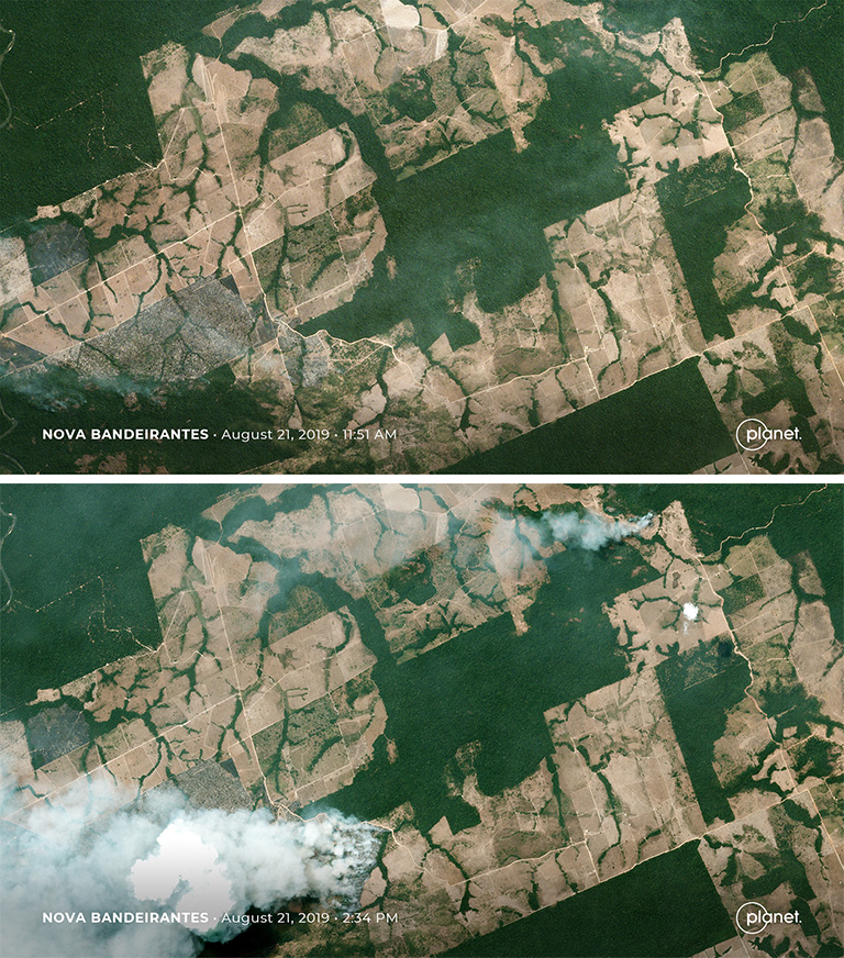 Planet images showing Nova Bandeirantes in Mato Grosso before and after a fire on Aug. 21, 2019. Images courtesy of Planet Labs Inc.