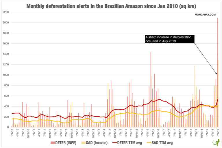 Chart showing deforestation alerts in the Brazilian Amazon since 2010