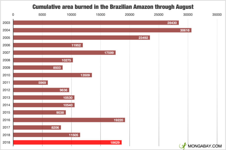Area burned in the Brazilian Amazon through July each year since 2002. Data from INPE.