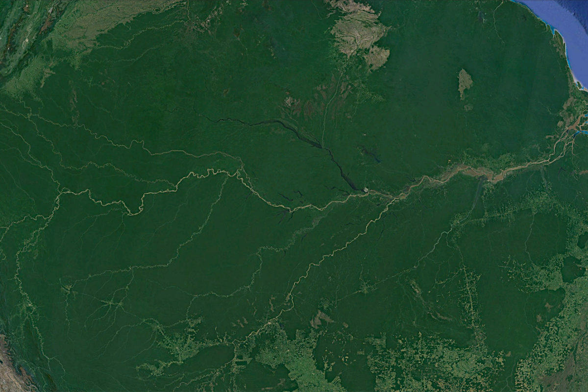 Copernicus / Landsat image of the Amazon River as seen via Google Earth.