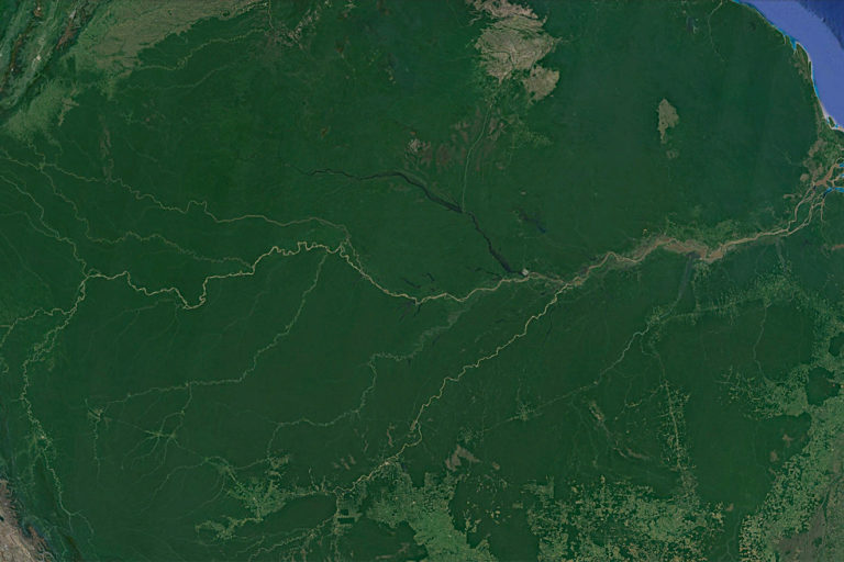 Copernicus / Landsat image of the Amazon River as seen via Google Earth.