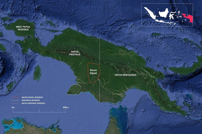 The island of New Guinea is split between Indonesia and Papua New Guinea.
