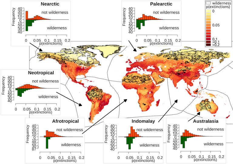 Global probabilities of species extinction in different biogeographical regions. Image courtesy of Di Marco et al., 2019.