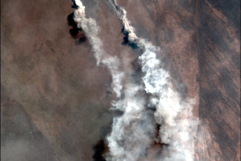 A recent fire in the dry forests of the Bolivian Amazon. Image courtesy of MAAP with data from Planet.