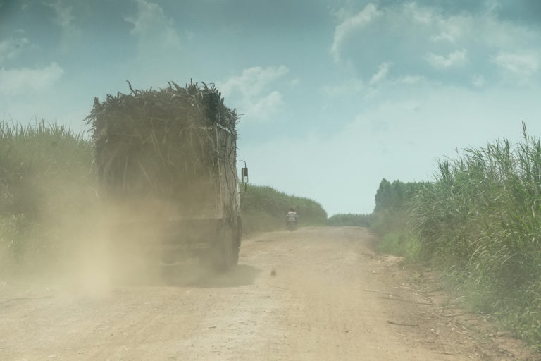Trucks loaded with sugar cane on one of the dirt roads around Bugoma Forest. Photo: Thomas Lewton for Mongabay.