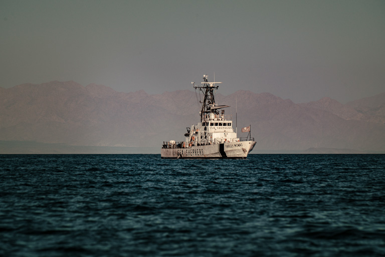 The Farley Mowat, a Sea Shepherd vessel, pictured during the survey in the Gulf of California. Image courtesy of CONANP/Museo de la Ballena/SEA SHEPHERD.