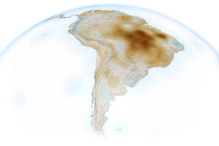 A map of South America showing the vapor pressure deficit. The darker areas have higher deficits. Image by Joshua Stevens with data from Barkhordarian, A., et al. (2019).